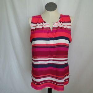 Ann Taylor Pink Stripe Sleeveless Blouse L